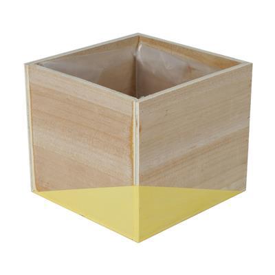 <h4>Pot Alvie en bois 13.5x13.5xH12cm jaune</h4>