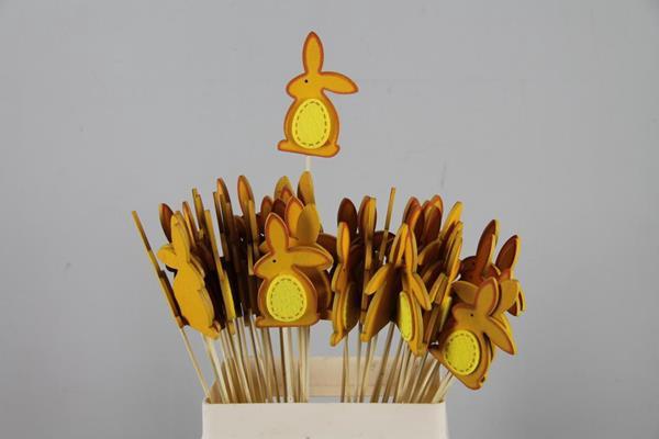 <h4>Stick Rabbit Wood+felt Orange</h4>