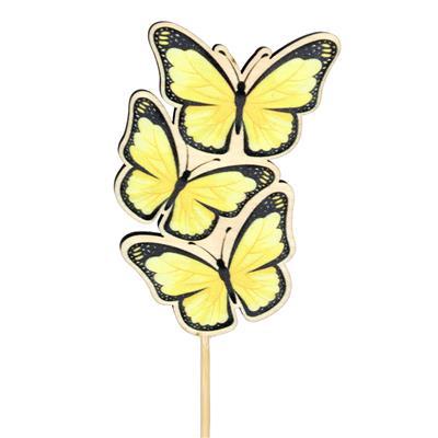 <h4>Pique papillon Trio bois 8x5cm+50cm bâton jaune</h4>