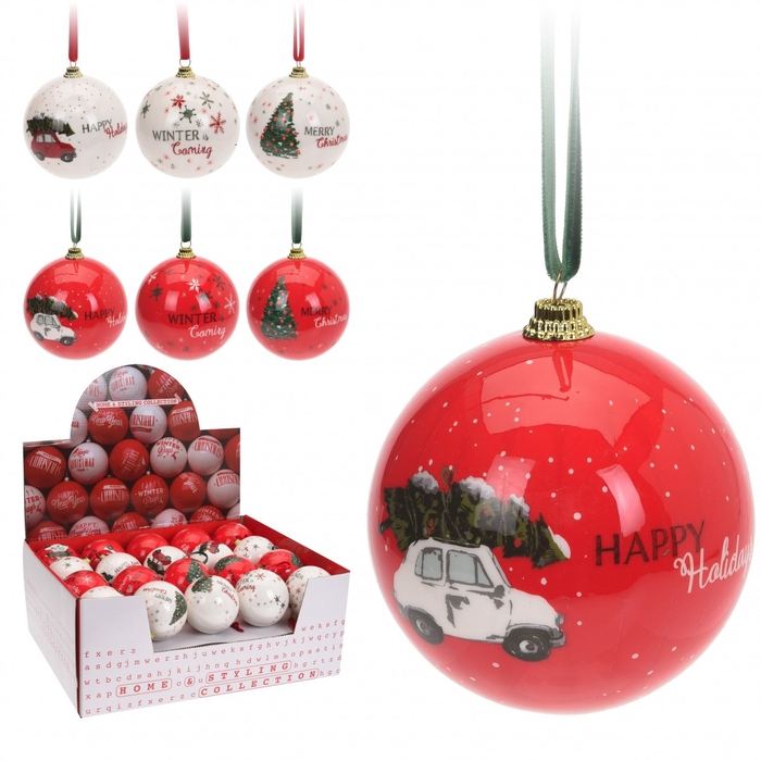 <h4>Christmas bauble Ball Christmas 75mm ass.</h4>