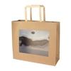 Bag kraft+window PVC 29x10x25cm brown