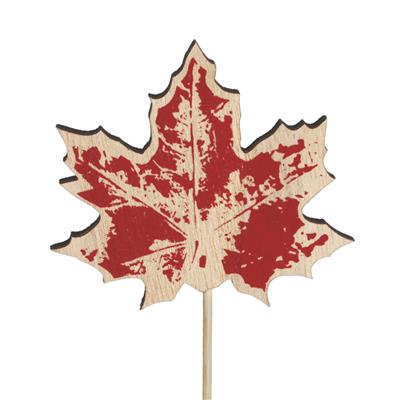 <h4>Bijsteker blad hout 8x7cm+12cm stok rood</h4>