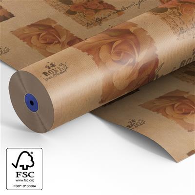<h4>Papier rol 60cm br. kraft  40gr Vintage Rose 500m.</h4>