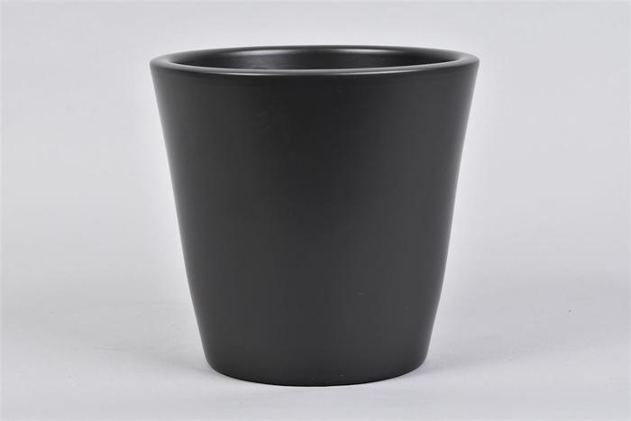 <h4>Vinci Mat Zwart Pot Container 18x16cm</h4>