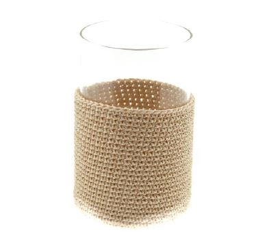 <h4>DF883818700 - Pot glass+fabric beige 15cm</h4>