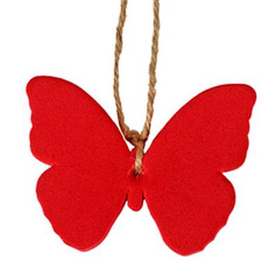 <h4>Hanger vlinder Joy foam 7x7cm + 16cm touw rood</h4>