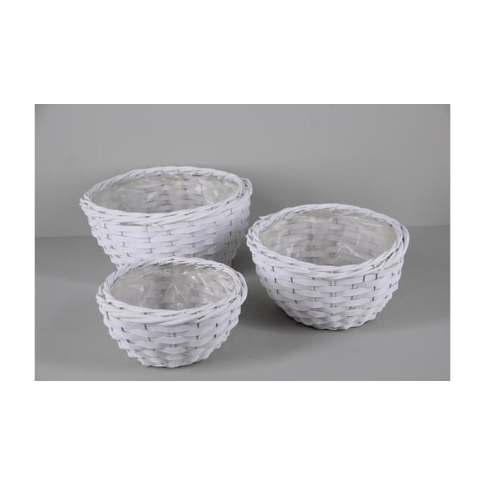 <h4>Basket Willow S/3 Ø31cm White</h4>