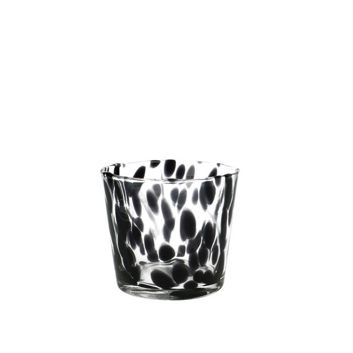 <h4>Glas kleur Spots pot d11.5*10.5cm</h4>