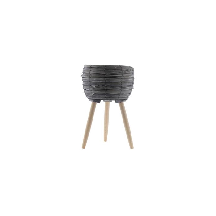 <h4>Basket W/feet Ø25x39 Grey/nat</h4>