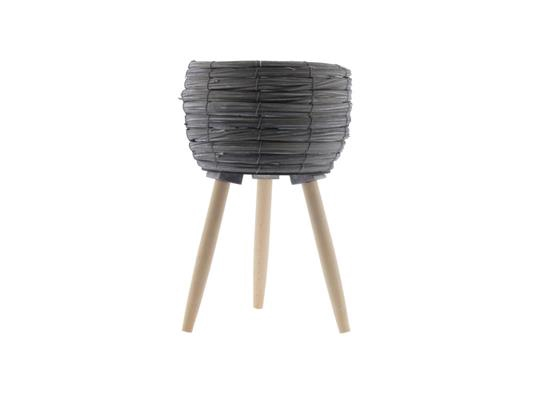 <h4>Basket W/feet Ø25x39 Grey/nat</h4>