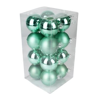 <h4>Boules de nöel en tube 80mm ass jade 16pcs</h4>