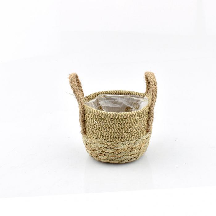 <h4>Baskets Straw+hessian pot d12.5*10cm</h4>