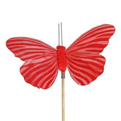 <h4>Pique papillon Spring 7x11cm +50cm stick rouge</h4>