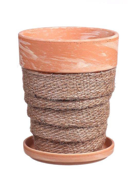 <h4>DF010057637 - Pot+saucer Lilo+jute natural d11.6cm</h4>