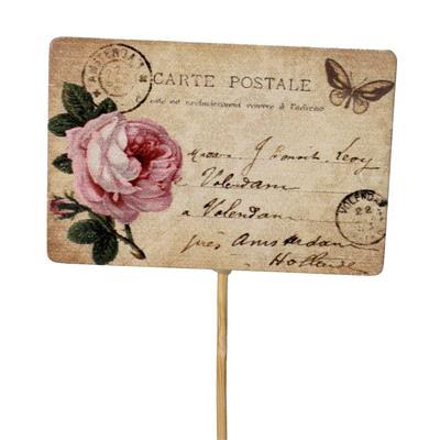 <h4>Pique Vintage signe de bois 5,5x8cm + 12cm bâton</h4>