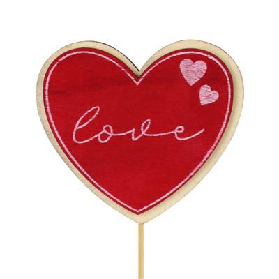 <h4>Bijsteker hart Love hout 9x8cm+12cm stok rood</h4>