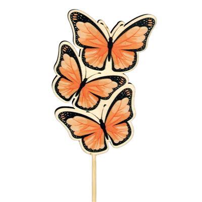 <h4>Pique papillon Trio bois 8x5cm+50cm bâton orange</h4>