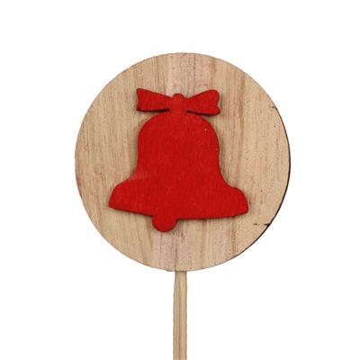 <h4>Pique disque en bois+cloche Ø5,5cm+12cm bâton roug</h4>