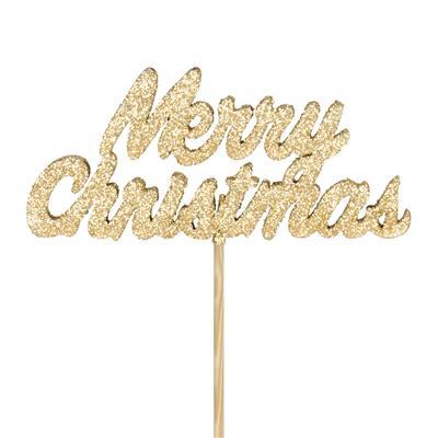 <h4>Bijsteker Merry Christmas hout 4x10cm+50cm st goud</h4>