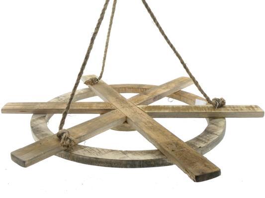 <h4>Wheel Wood Hanging+hooks Ø81cm</h4>
