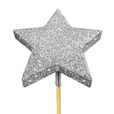<h4>Bijsteker glitter ster foam Ø7cm+50cm stok zilver</h4>