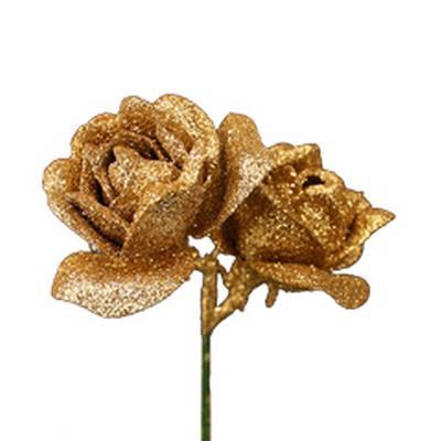 <h4>Bijsteker Roos 2x Ø4cm+10cm stok goud - 24 st.</h4>