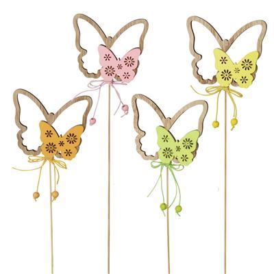 <h4>Pique papillon bois 7,5x8cm+20cm tige mix 24st</h4>