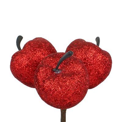<h4>Bijsteker Appel 3x4cm+12cm stok glitter/rood</h4>