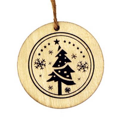 <h4>Hanger schijf kerstboom hout Ø5,5cm +16cm touw</h4>