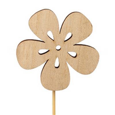 <h4>Pique fleur nature bois 7x7cm+12cm sur tige</h4>