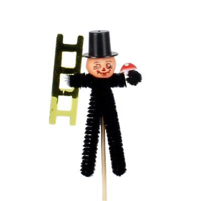<h4>Bijsteker schoorsteenveger 13x6cm+50cm stok zwart</h4>