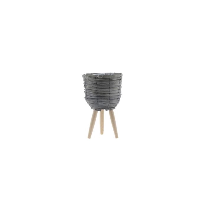 <h4>Basket W/feet Ø21x32 Grey/nat.</h4>