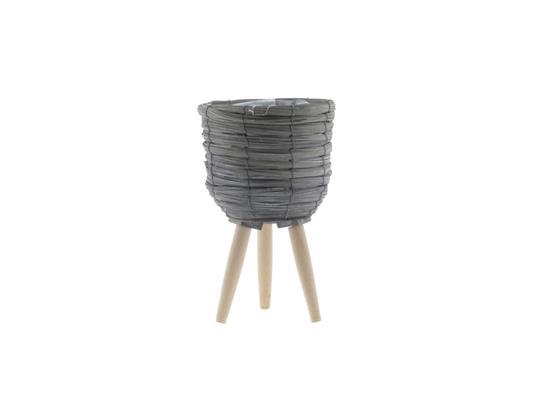 <h4>Basket W/feet Ø21x32 Grey/nat.</h4>