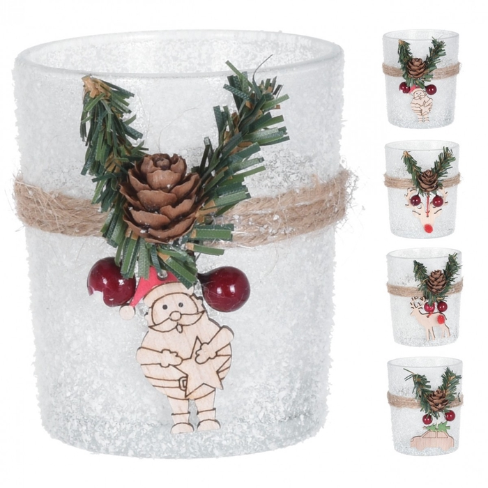 <h4>Theelichth. Glas frost Xmas d08*09cm ass</h4>