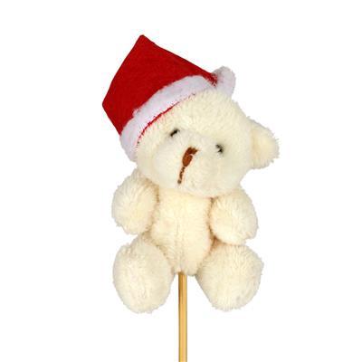 <h4>Bijsteker Kerst beer pluche 7x5cm + 50cm stok</h4>