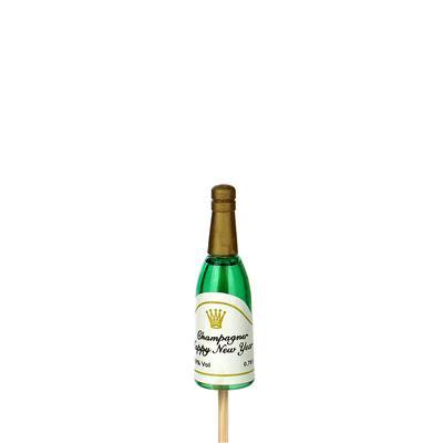 <h4>Bijsteker champagnefles 5cm+12cm stok groen</h4>