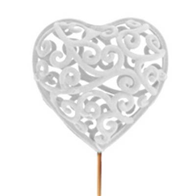 <h4>Heartroque 7cm sur tige de 50cm blanc</h4>