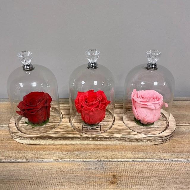 Stolp trio knop rood-fuchsia-roze