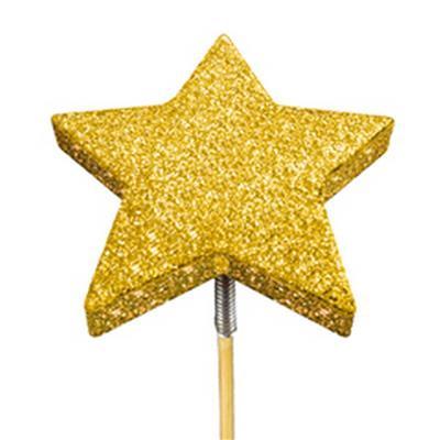 <h4>Bijsteker glitter ster foam Ø7cm+50cm stok goud</h4>
