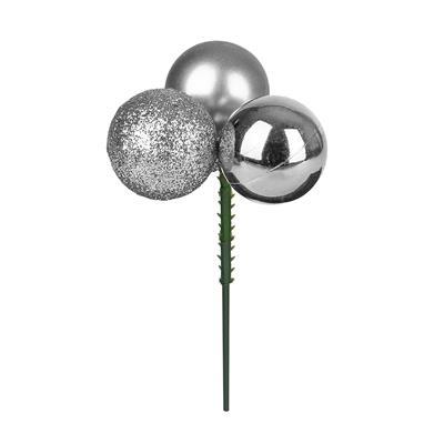 <h4>Boule de Noël 3x3cm sur tige 10cm ass argent</h4>
