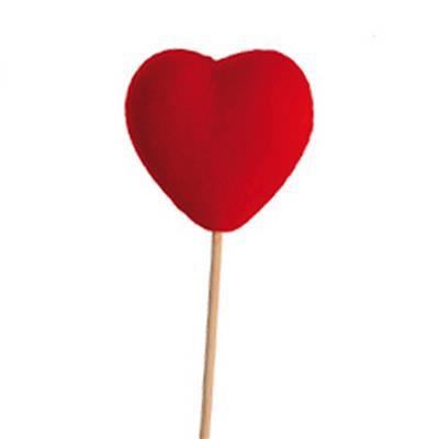 <h4>Bijsteker Hart vilt 6x6cm+50cm stok rood</h4>