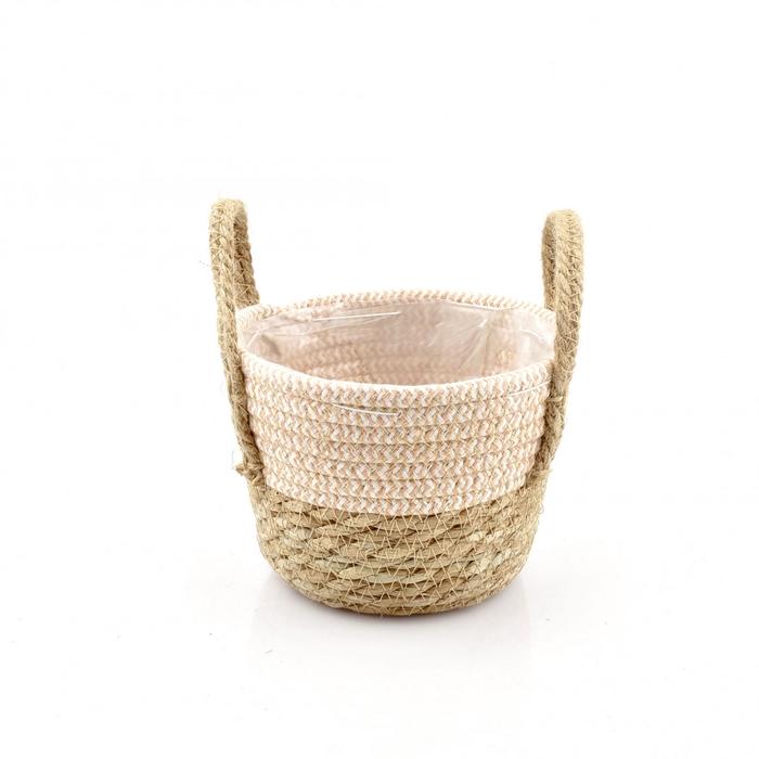 <h4>Baskets Straw+hessian pot d17*13cm</h4>