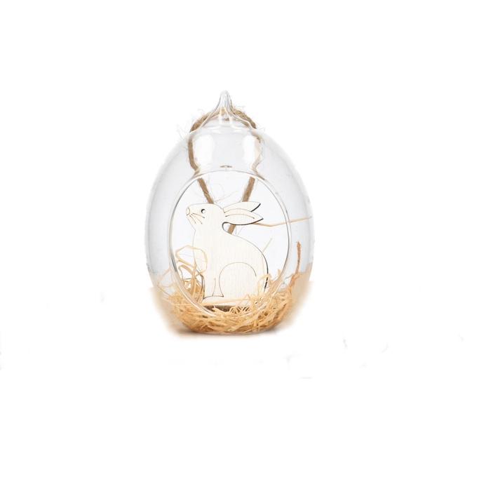 <h4>Pasen Hanger glas konijn 6*7.5cm x3</h4>