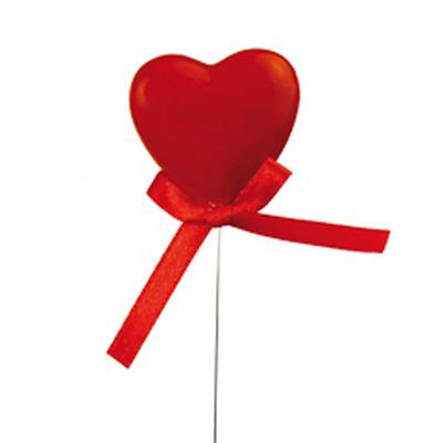 <h4>Cœur de Valentine (Laqué) 4cm sur fil + arc 36pcs</h4>