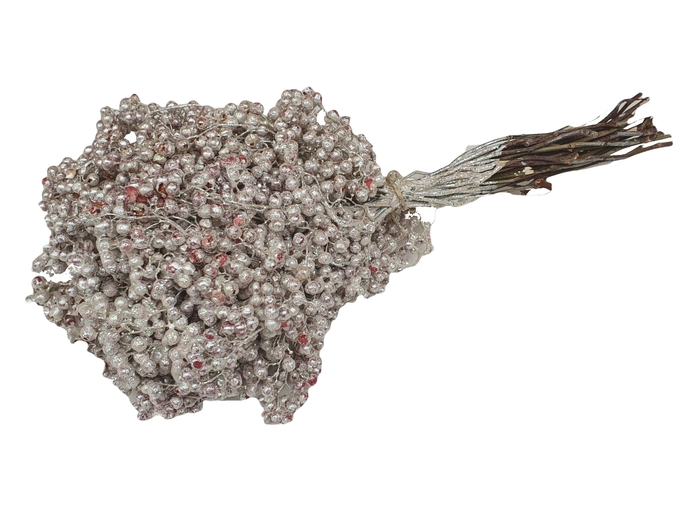 <h4>Pepperberries per bunch in poly white with glitter</h4>