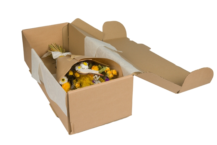 <h4>HAND TIED BOUQUET IN BOX EASTER YELLOW</h4>