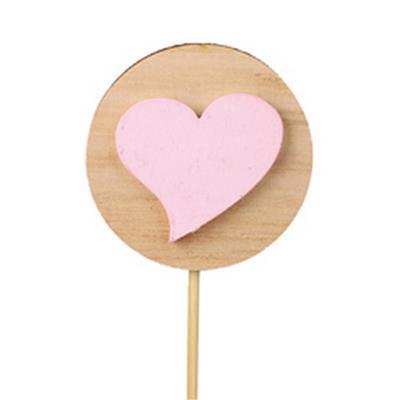 <h4>Bijsteker schijf+hart hout 5,5cm+12cm stok roze</h4>
