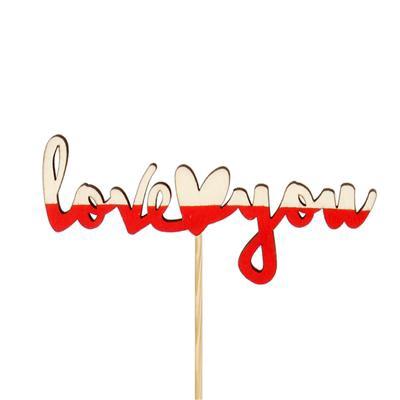 <h4>Bijsteker LY Heart hout 4,5x10cm+50cm stok rood</h4>