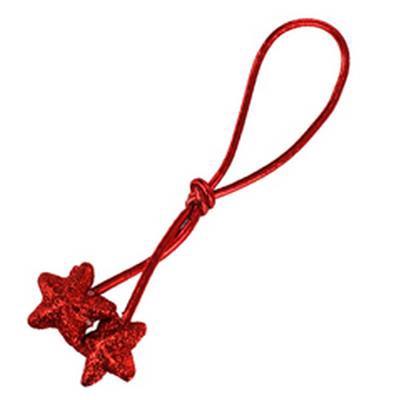 <h4>Cordon elastique 17cm+2 étoiles 3cm glitter rouge</h4>