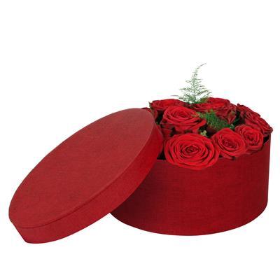 <h4>Hoedendoos Fabric karton Ø22,5xH10cm rood</h4>